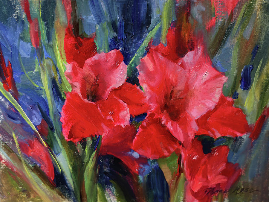 Red Painting - Red Gladiolus by Anna Rose Bain