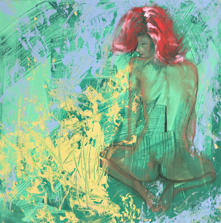 Nude Painting - Red Headed Nude by Peter Bonk