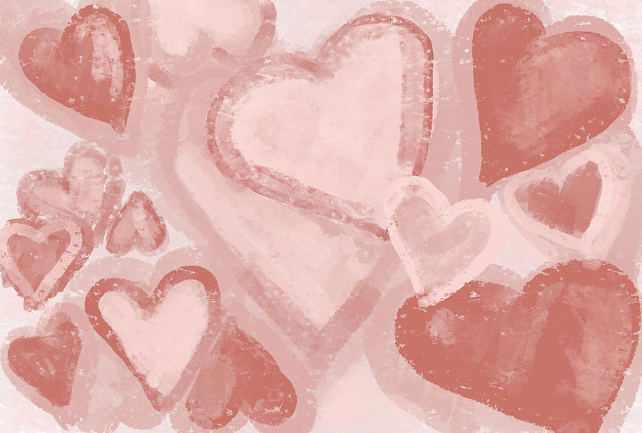 Red Hearts Patterns Vintage Design for Love by Patricia Awapara