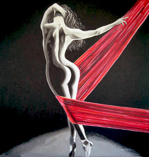People Painting - Red by Jose Manuel Abraham