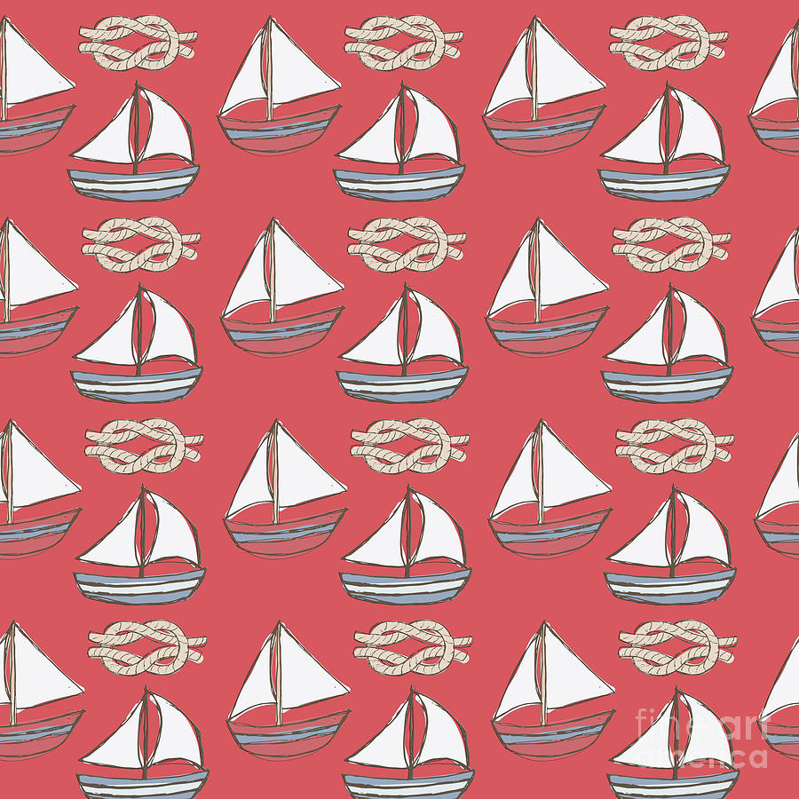 Red Little Boats Pattern Mixed Media