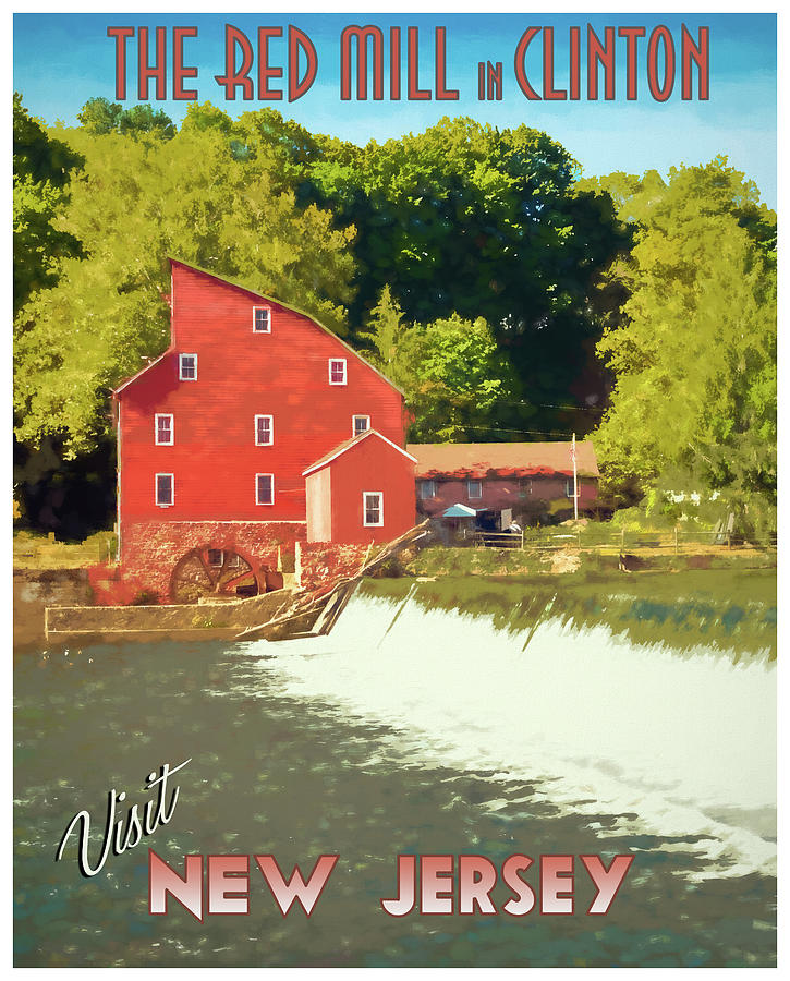 Red Mill Clinton NJ Travel Poster by Kristia Adams