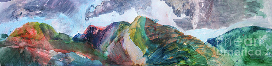 Lake District Painting - Red Mountain Panorama by Elizabetha Fox