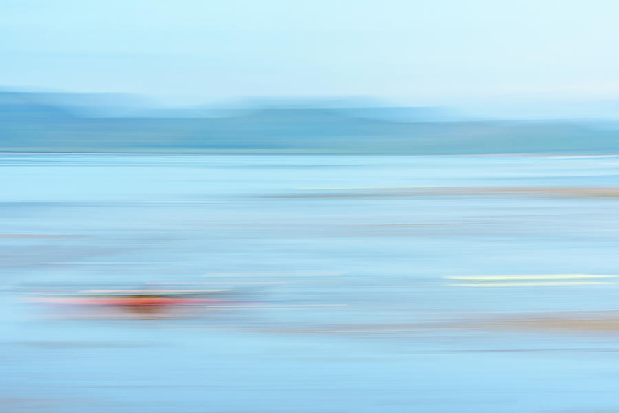 Red On Blue Seascape Photograph