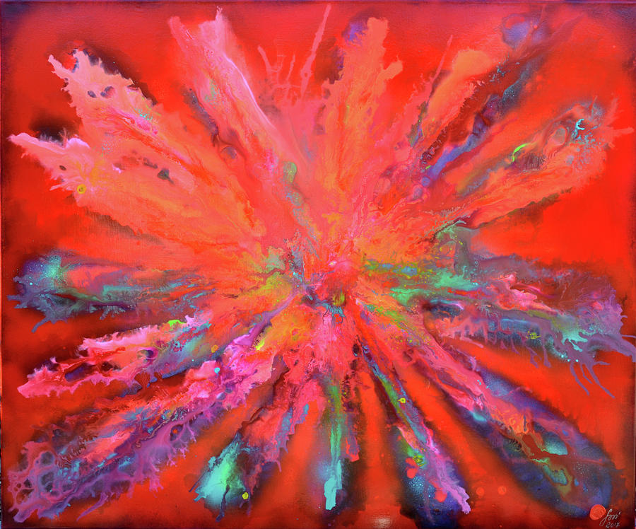 Red Pandora, Large Abstract Painting Painting