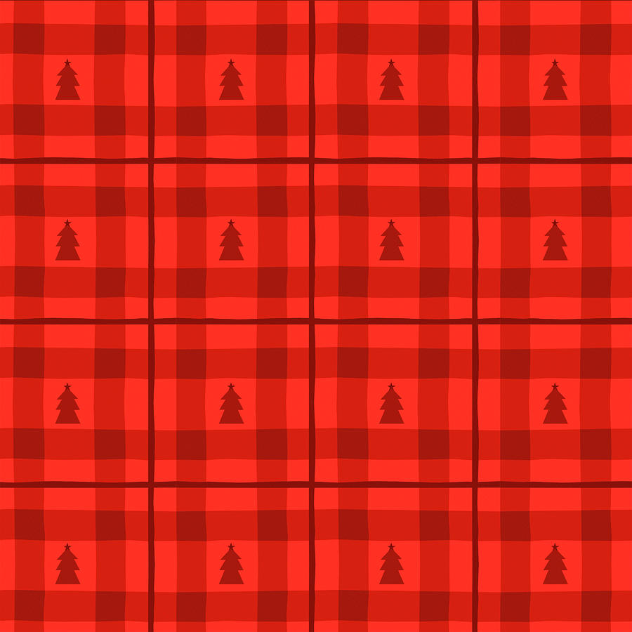 Red Painting - Red Plaid Christmas Tree Pattern - Art by Jen Montgomery by Jen Montgomery