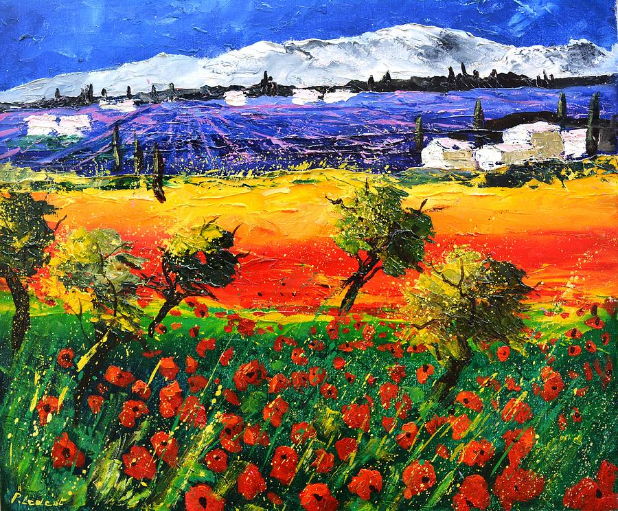 Red Poppies And Lavender Painting
