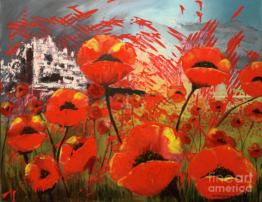 Red Poppies Painting - Red Poppies in Montecassino by Jolanta Shiloni