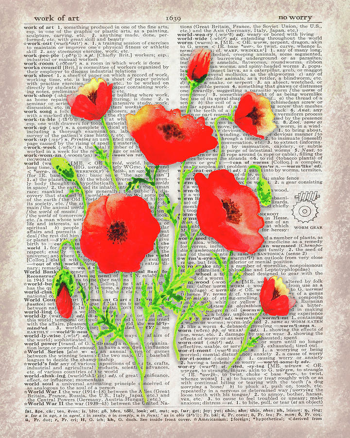 Red Poppies Wildflowers Dictionary Page Watercolor  by Irina Sztukowski