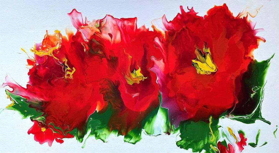 Red Poppy Embrace Painting
