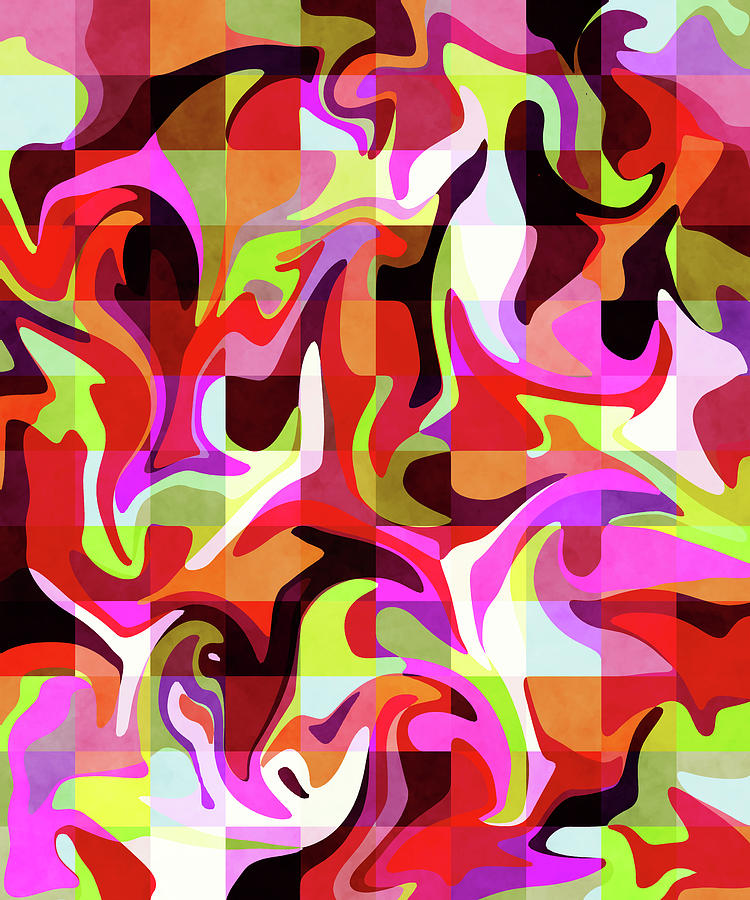 Red Resplendence - Contemporary Abstract Painting - Red, Violet, Purple Mixed Media