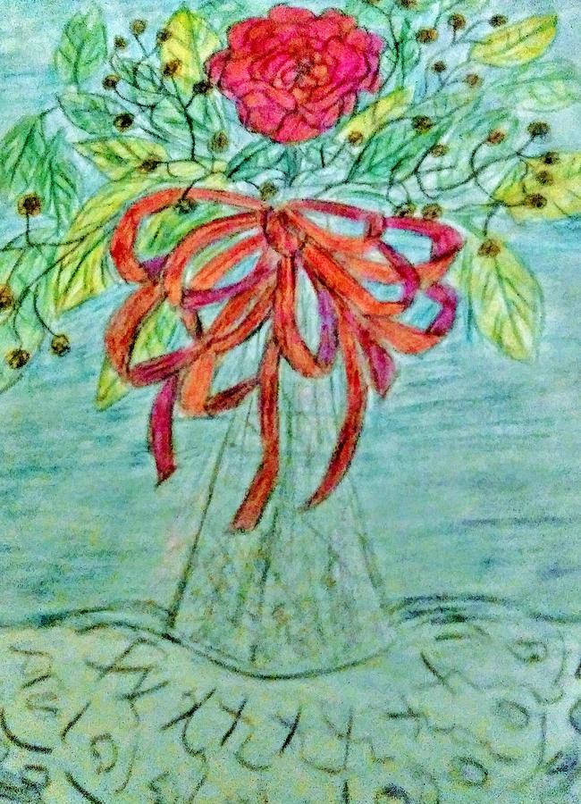 Red Ribbon And Flower On Blue Drawing