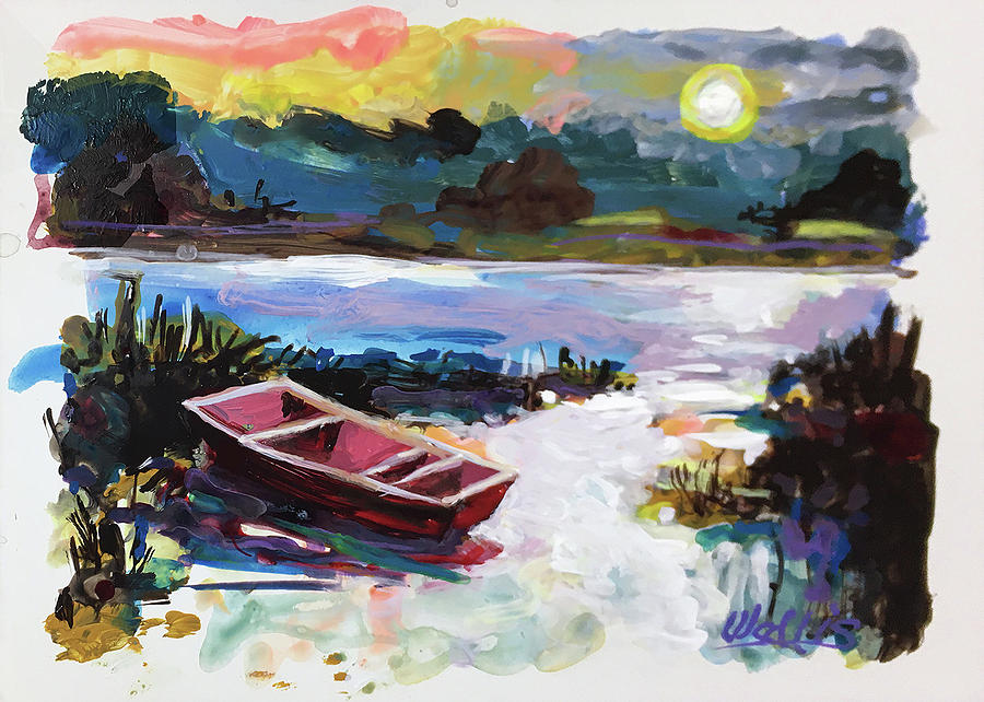 Red Row Boat In The Moonlight Painting