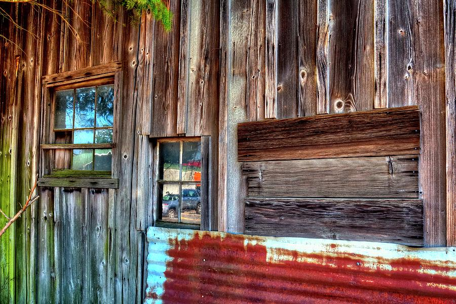 Red Rusty Metal Two Windows Three Boards Photograph