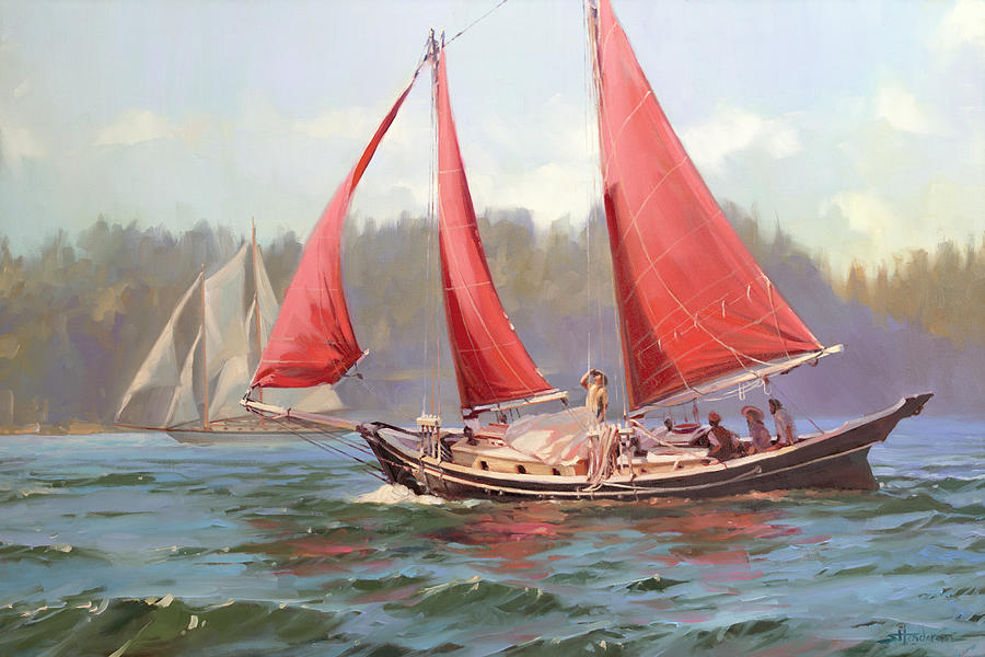 Red Sail Day Painting