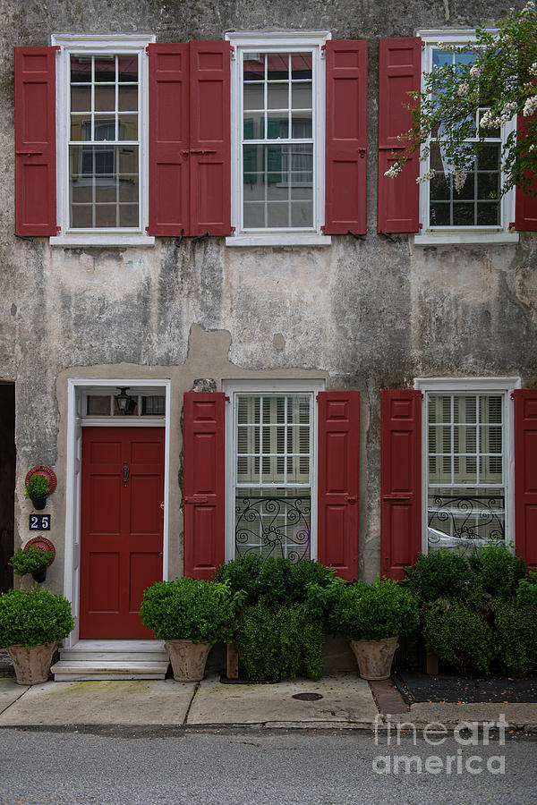 Red Shutters And Doors - Charleston Sc Photograph