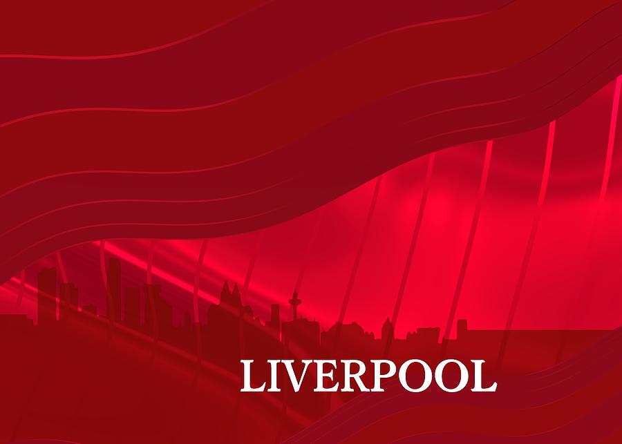 Red Silhouette Of Sportive Liverpool City Digital Art