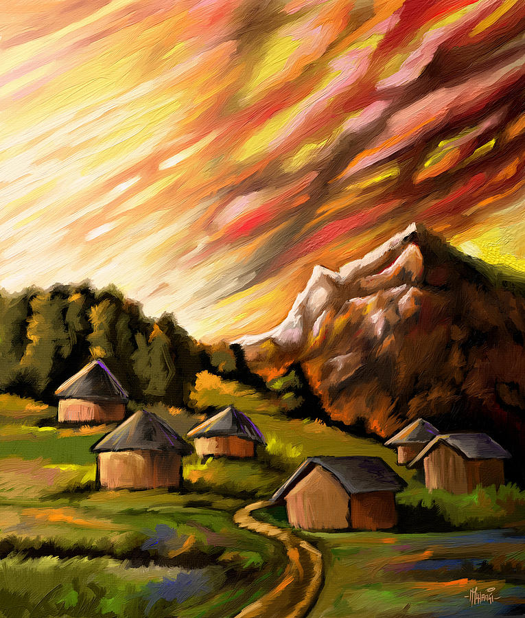 Red Sky And Homes Painting