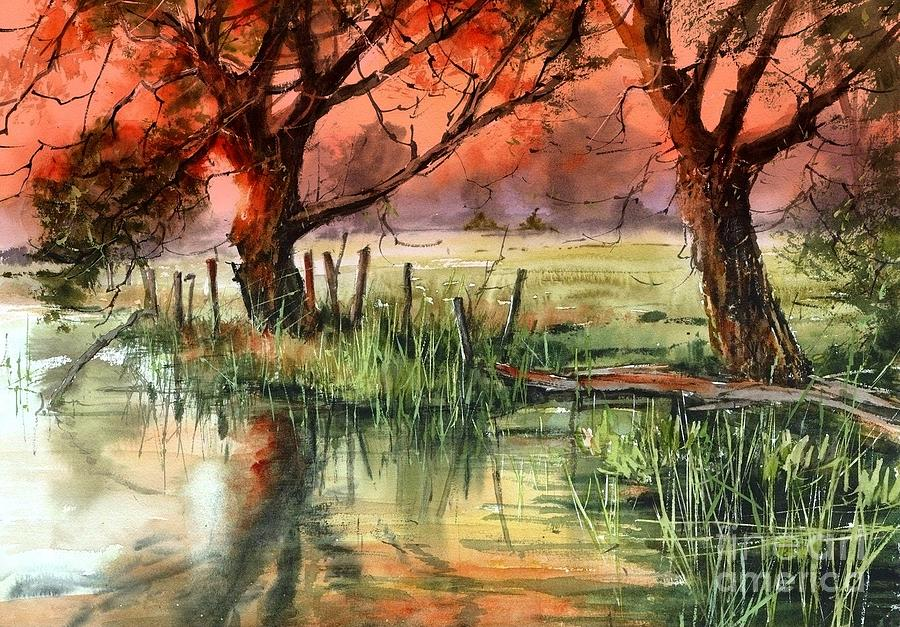 Marshes Painting - Red Sky That Yellows In The Pond by Suzann Sines