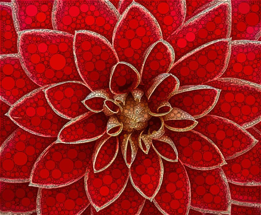 Red Digital Art - Red Spiral Symmetry by Dahl Winters