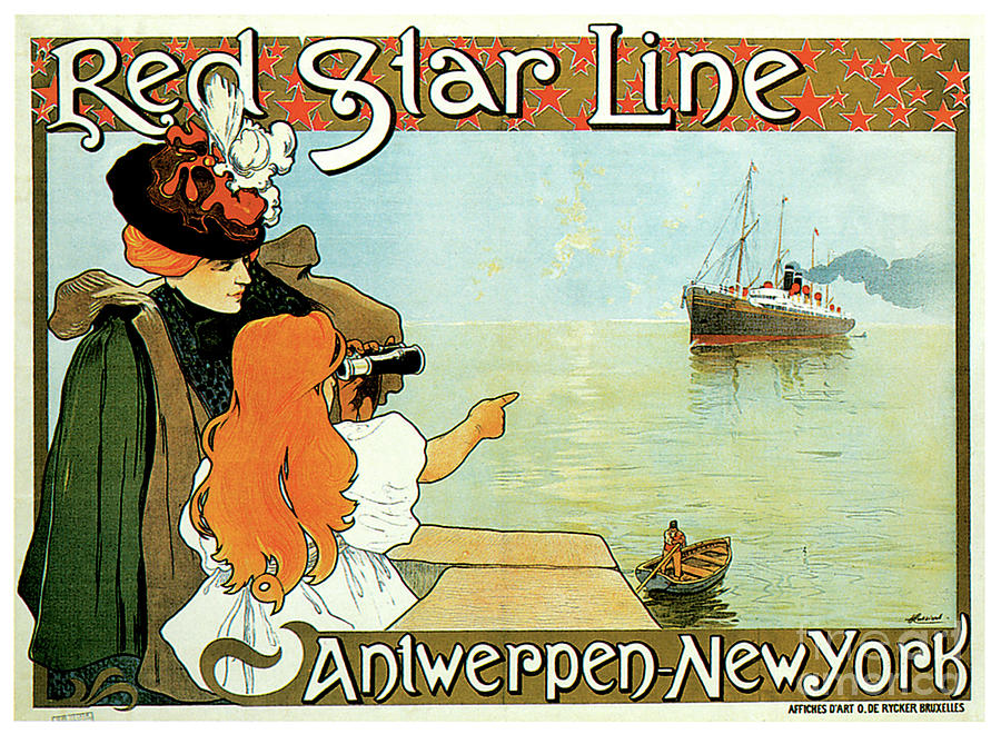 Red Star Line Antwerp New York Travel Poster Painting