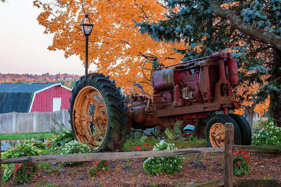 Red Tractor in Autumn by Jeff Folger