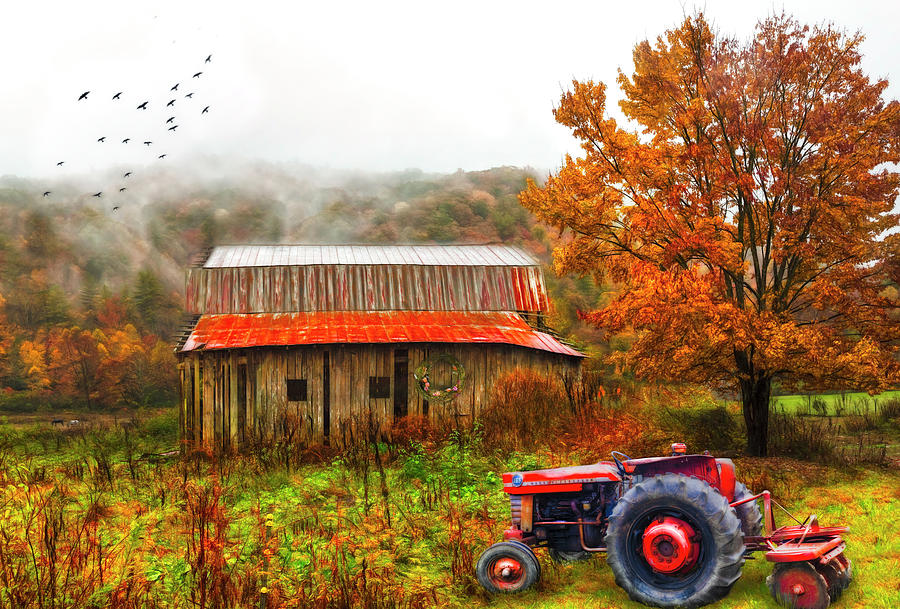 Red Tractor in the Mountain MIsts Watercolor Painting by Debra and Dave Vanderlaan