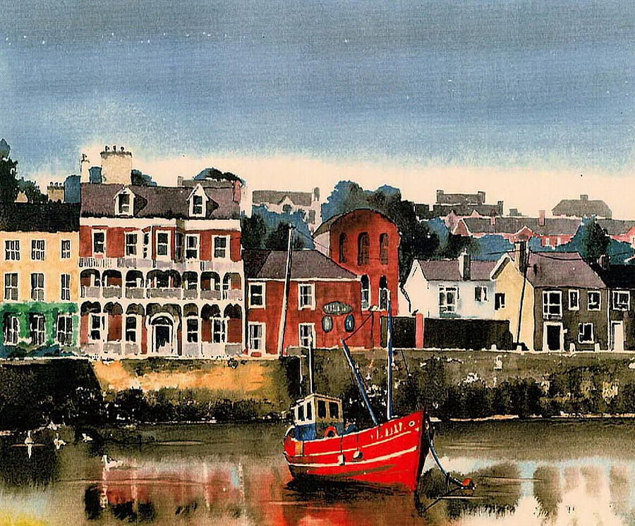 Red trawler in Kinsale, Co. Cork. by Val Byrne