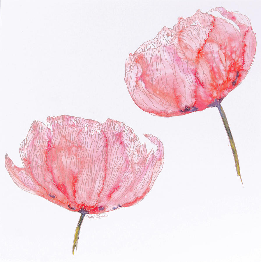 Watercolor Painting - Red Watercolor Floral by Kelly Edwards