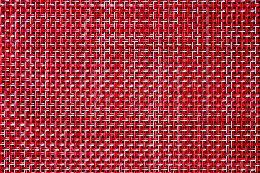 Red Weave Seamless Texture Of Bamboo Wicker Rattan Basket Pattern Background. Rough Wooden Wicker Texture, Red Weave Texture Detail. Square Vintage Weave Textile Texture. Wicker Fabric Basket Pattern Photograph
