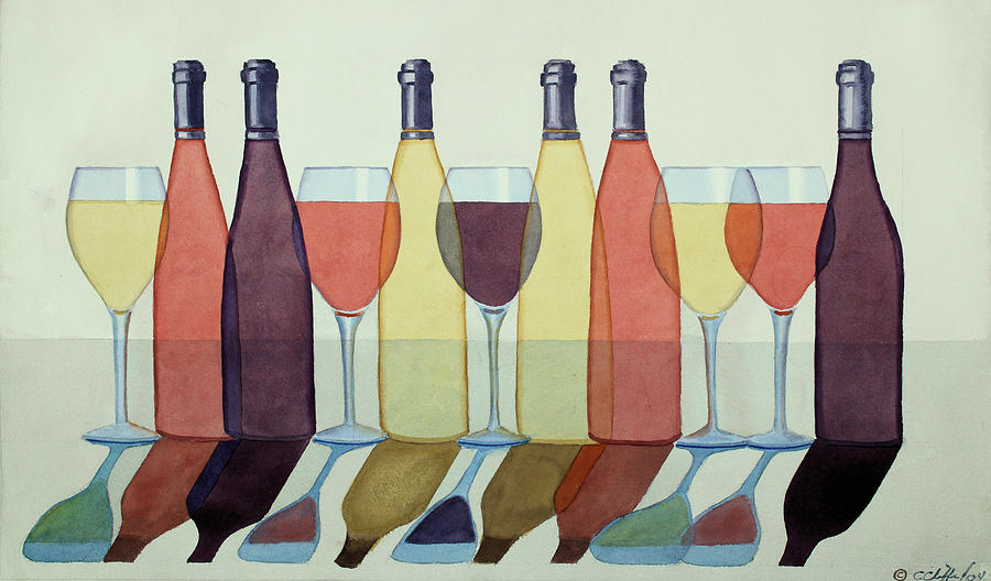 Wine Painting - Red, White and Rose by Cory Clifford
