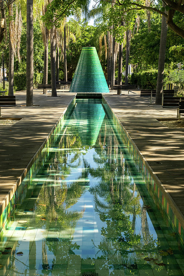 Reflecting on Palms - Cool Conical Fountain at Parque das Nacoes in Lisbon Portugal by Georgia Mizuleva