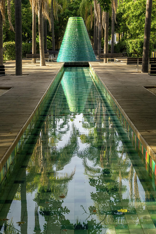 Reflecting on Palms - Cool Conical Fountain in Parque das Nacoes Lisbon Portugal by Georgia Mizuleva