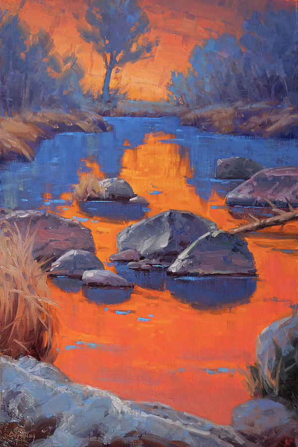 Reflections Painting - Reflections In Orange And Blue by Cody DeLong