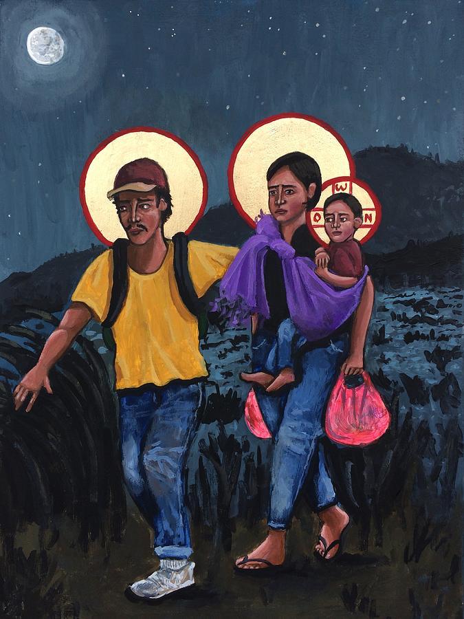 Refugees La Sagrada Familia Painting by Kelly Latimore