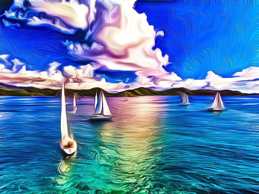 Regatta At Coral Bay Mixed Media