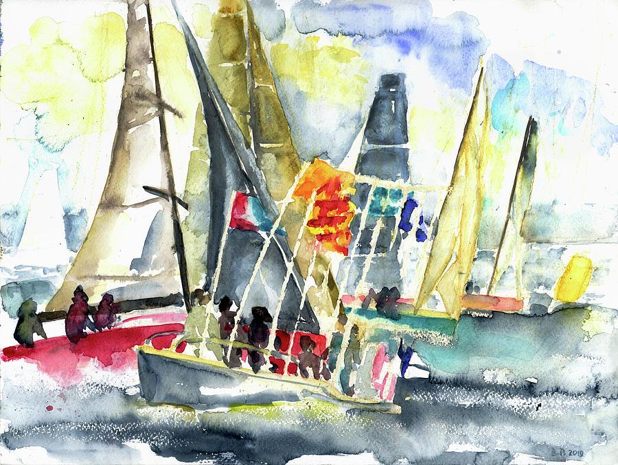 Regatta Start On Lake Geneva Painting by Barbara Pommerenke