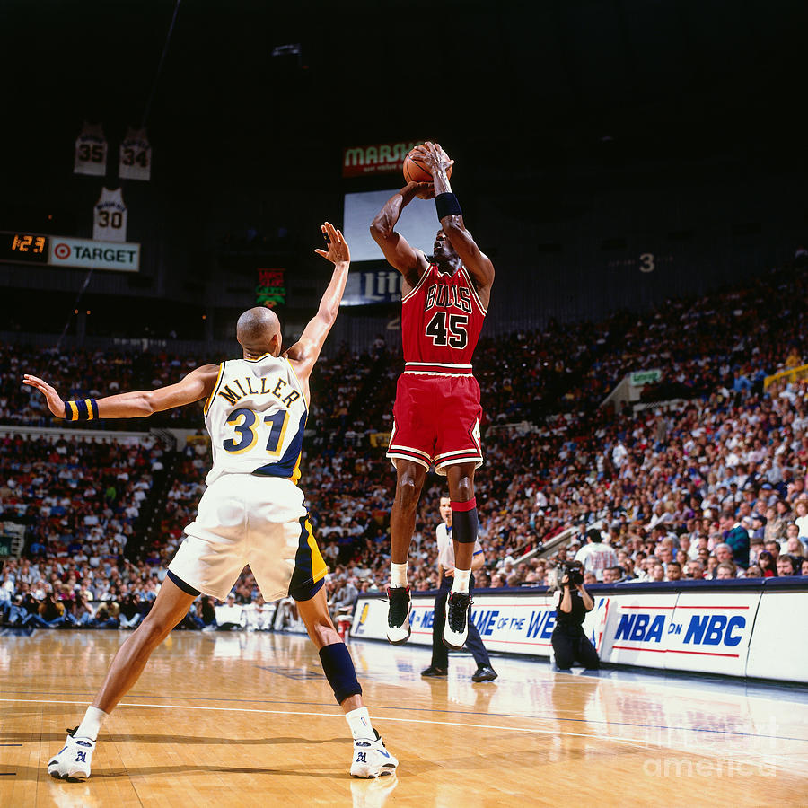 Reggie Miller and Michael Jordan Photograph by Nathaniel S. Butler