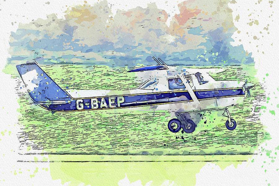 Reims Cessna Fra L Aerobat G-baep War Planes In Watercolor Ca  By Ahmet Asar Painting