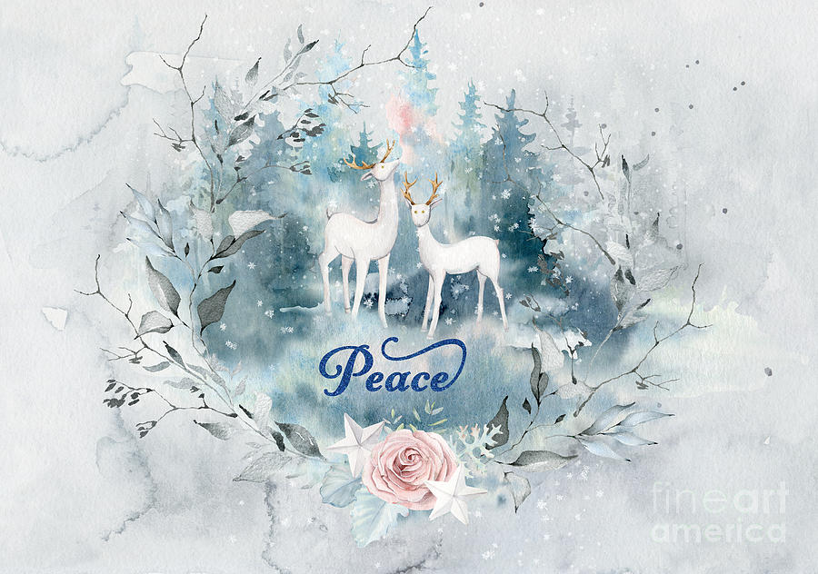 Reindeer in the Forest Peace Art by Anita Pollak