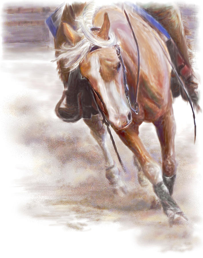 Horse Painting - Reiners Grace- Western Reining Horse by Connie Moses