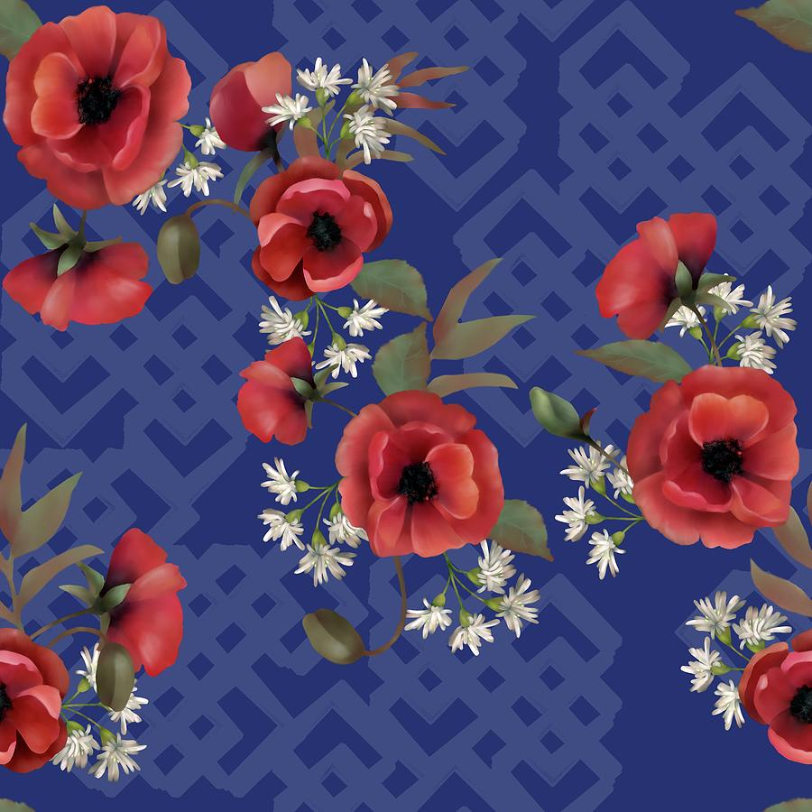Remembrance Blue Floral Digital Art