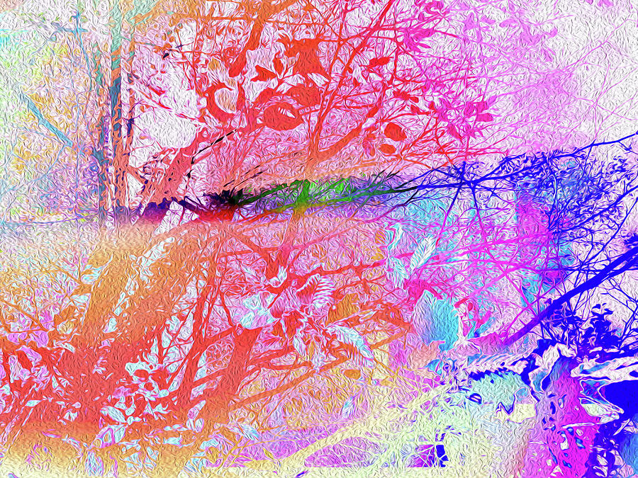 Botanical Mixed Media - Remixed Under The Trees Colorful Abstract Landscape by Itsonlythemoon -
