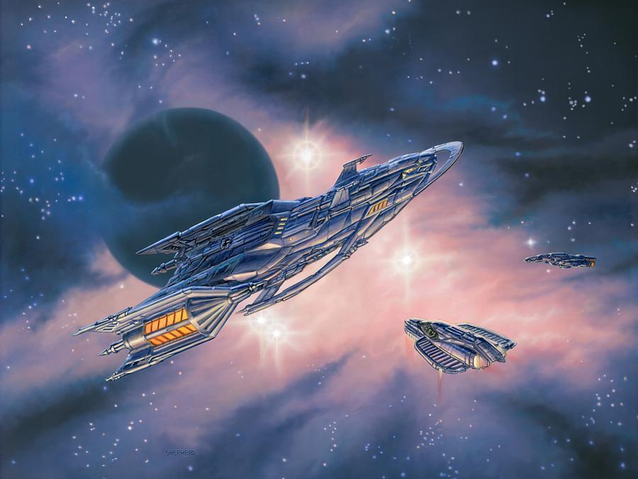 Space Painting - Rendezvous At Ominia Mekos by Stu Shepherd