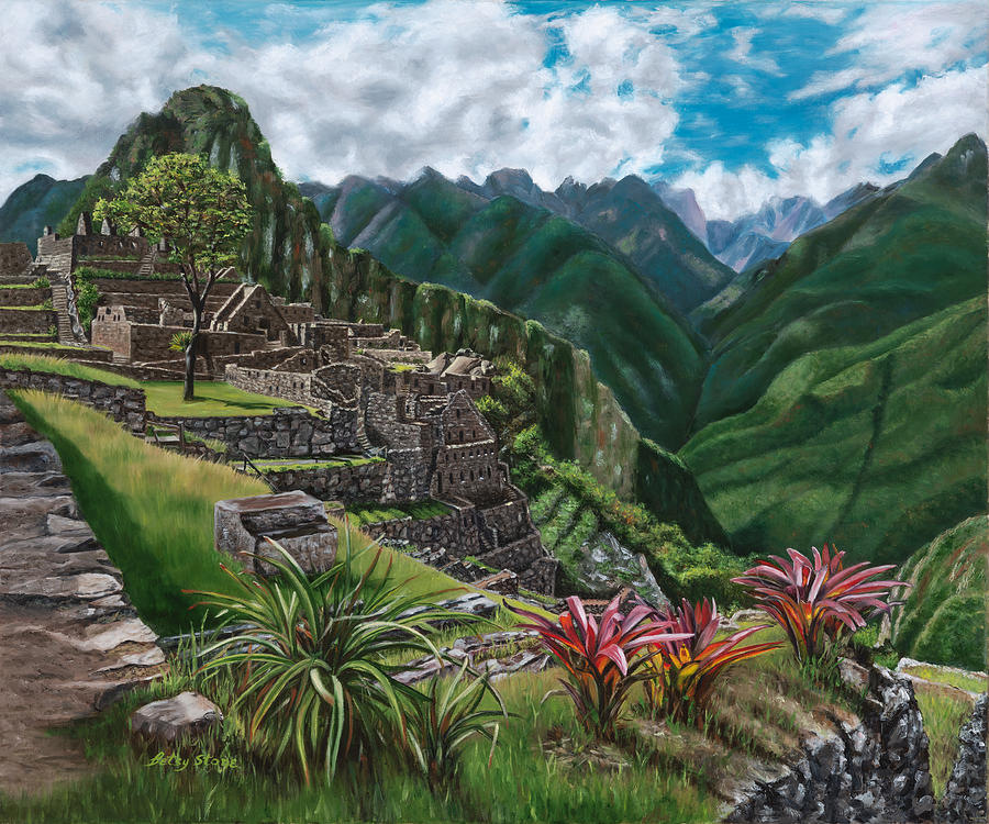 Serenity Painting - Repose at Macchu Picchu by Alice Betsy Stone