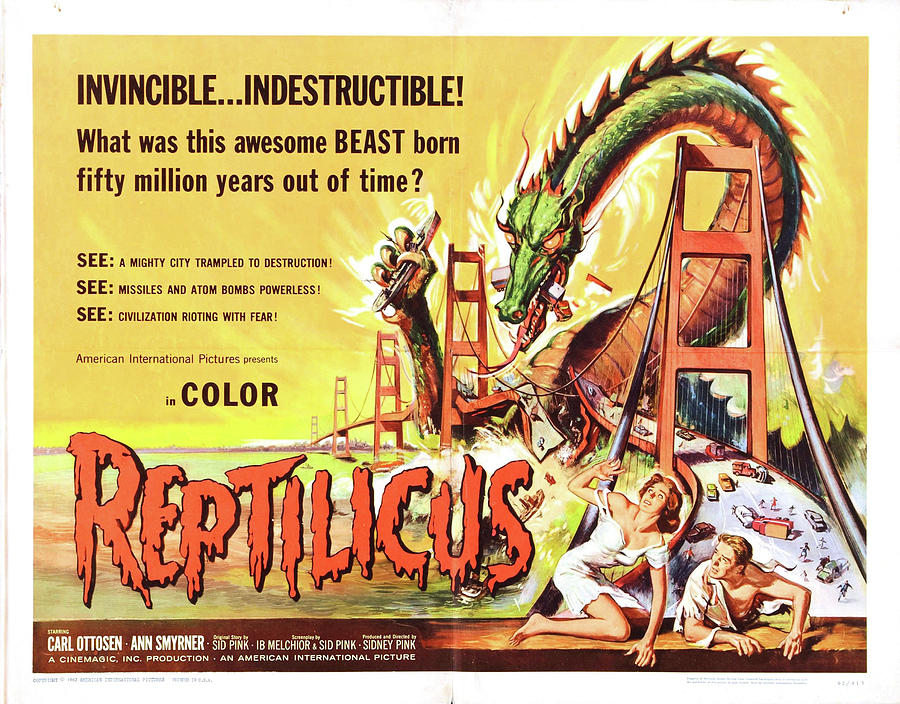 reptilicus, 1961 Mixed Media