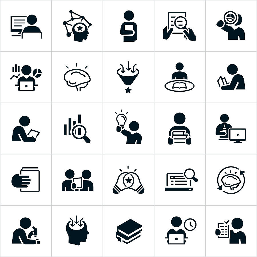 Research Icons Drawing by Appleuzr