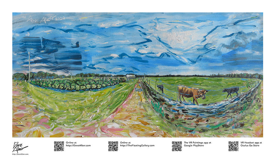 Wonder Painting - Resilient Americana Hard Work Cows and Crops at JG Ranch Farm Brooksville Florida by Dave Alber
