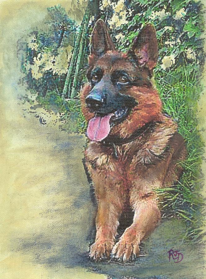 Resting German Shepherd Painting