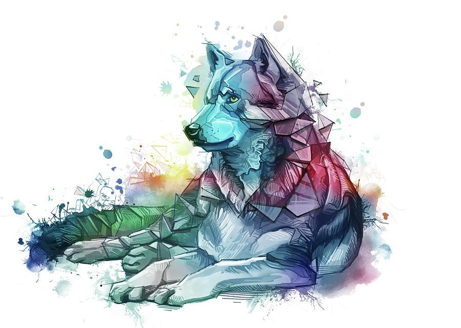 Resting Wolf Colorful Digital Art